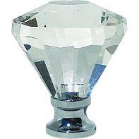 "Knob ""Vetro"" Glass, 31mm diameter, clear glass"