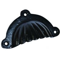 "Handle ""Scalloped"" pull, face fix w/screws, 103mm long, satin black"
