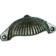 "Handle ""Brixton"" pull, face fix w/screws, 95mm long, antique pewter"