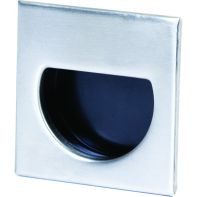 "Handle ""Adatto"" Recessed pull 44mm square, brushed stainless steel / black plastic"