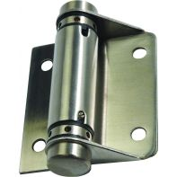 Metlam toilet partition hinge, spring, hold closed, bolt fix, stainless steel, pair