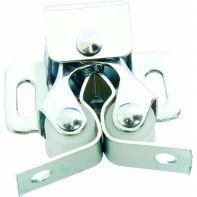 Door catch, double roller, white zinc-plated, incl. four screws, set