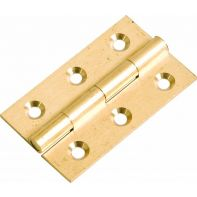 Butt hinge, 25mm solid brass, polished brass lacquered, each