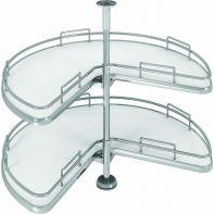Sige three quarter corner carousel, white melamine base/flat chrome railing suits 900x900mm width, 20kg load, ea.