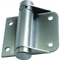 Metlam toilet partition hinge, spring, hold open, bolt through, incl .bolts & nuts, satin chrome-plated, pair