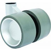 """Castor """"Formula 40"""", twin wheel, 40mm diameter, 47mm sq plate, alu paint wheel/black tread, each"""