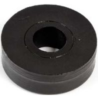 Spacer, 28mm diameter, 14mm thick, 10mm bore, plastic, black, each