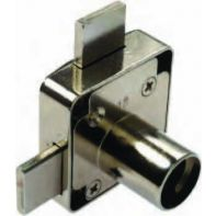 BMB rim lock housing for double doors incl. striker, nickel plated, ea.