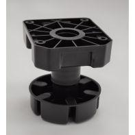 Plinth Leg 100mm (suits bathroom vanities), 85-125mm adjustment, leg and screw-in plate (black), box of 100 legs