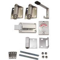 Metlam toilet partition kit, spring hinge, 18mm, hold open, bolt fix, stainless steel, set