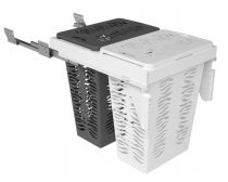 Sige laundry hamper (double) with soft-close runners, suits 450mm cabinet, white/grey baskets with lid, 2x30l, ea.