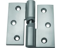 Metlam toilet partition hinge, gravity, hold open, incl. screws, right hand, satin chrome-plated, pair