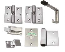 Metlam toilet partition kit, gravity hinge, hold open, screw fix, left hand, satin chrome-plated, set