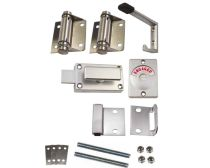 Metlam toilet partition kit, spring hinge, 18mm, hold closed, bolt fix, stainless steel, set