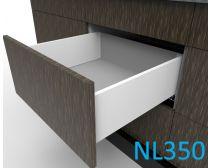 Topaz Slimline Mid-height Drawer Kit H167, NL350, quick-dowel fix, white (each)